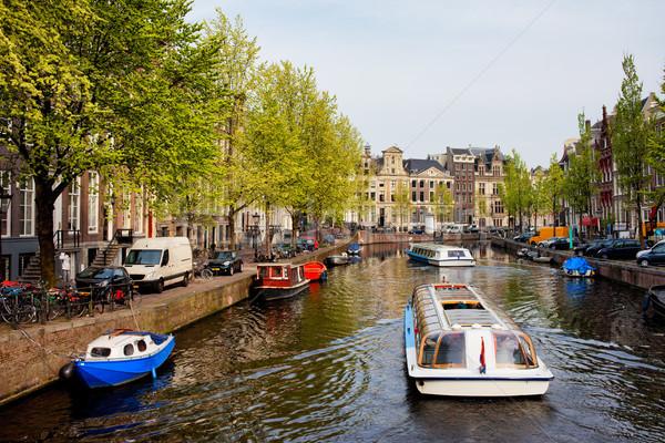 Hajók csatorna turné Amszterdam város Hollandia Stock fotó © rognar