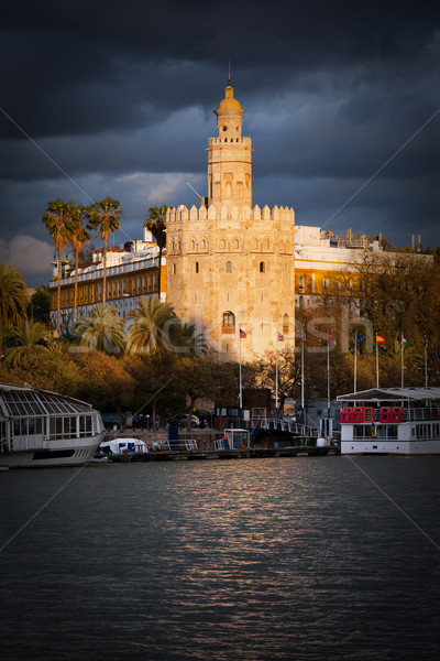 Torre del Oro in Seville at Sunset Stock photo © rognar