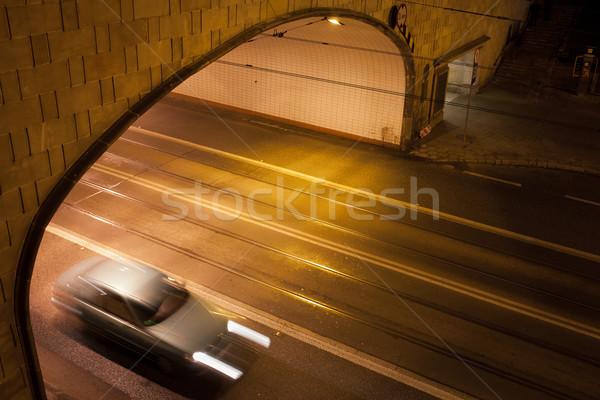туннель улице ночь Варшава Польша город Сток-фото © rognar