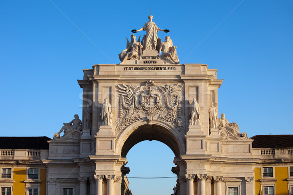 Arco nascer do sol Lisboa Portugal topo alegoria Foto stock © rognar