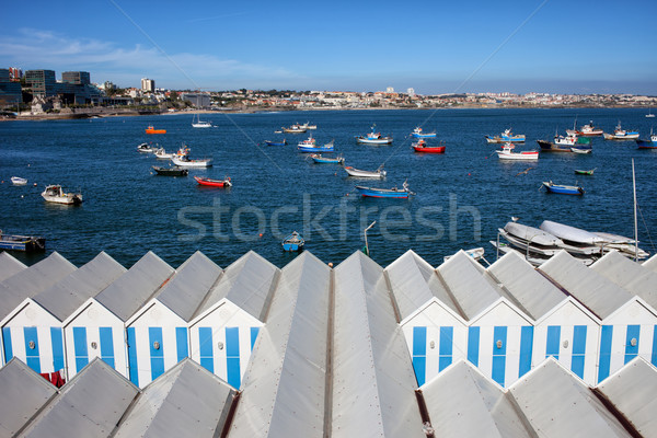 Sheds and Boats Moored at Bay in Cascais Stock photo © rognar