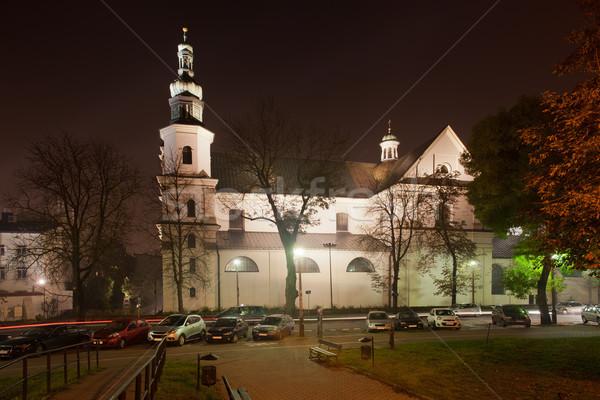 Templom éjszaka Krakkó Lengyelország barokk építészet Stock fotó © rognar