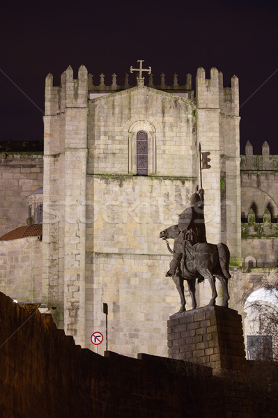 Kathedraal nacht Portugal barok architectuur stad Stockfoto © rognar