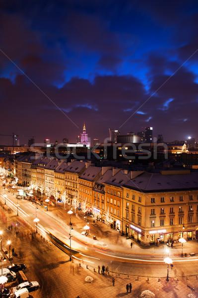 Miasta Warszawa noc Polska ulicy historyczny Zdjęcia stock © rognar