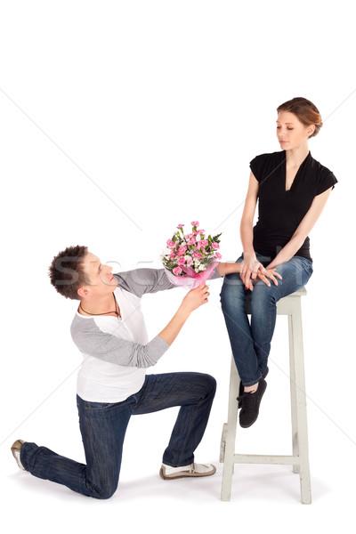 Nyilatkozat szeretet férfi virágcsokor virágok gyönyörű Stock fotó © rognar