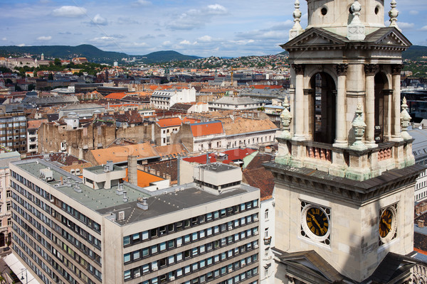 St Stephen's Basilica Bell Tower and Budapest Cityscape Stock photo © rognar