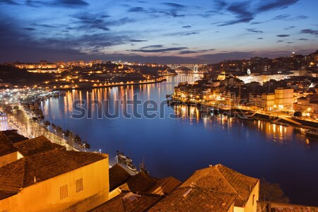 Stad nacht Portugal rivier mooie gebouwen Stockfoto © rognar