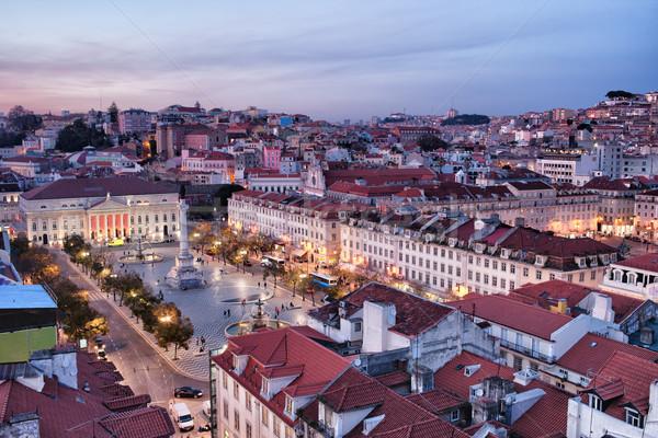 Ver cidade Lisboa crepúsculo Portugal praça Foto stock © rognar