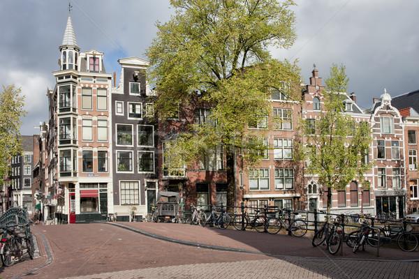 Huizen Amsterdam traditioneel nederlands stijl brug Stockfoto © rognar