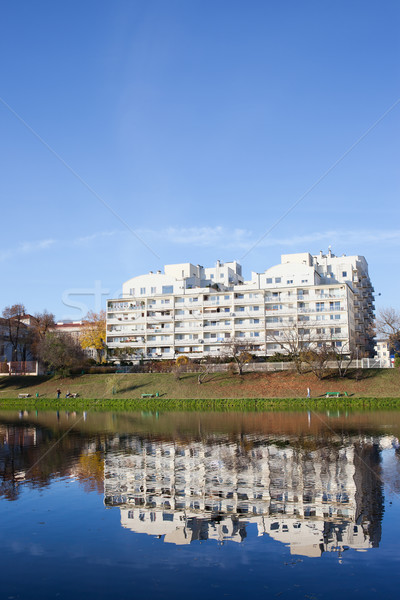 Stock photo: Apartment Houses by the Water in Warsaw