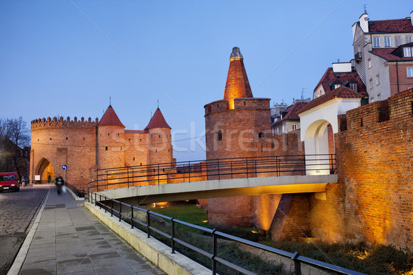 Barbican in the Old Town of Warsaw Stock photo © rognar