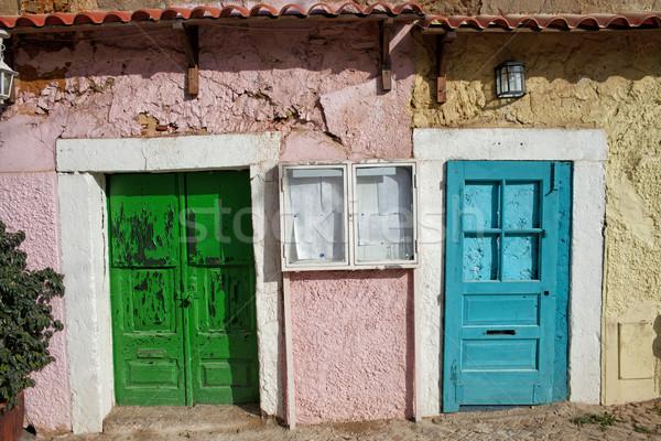 старом доме дверей Лиссабон старые здании район Сток-фото © rognar