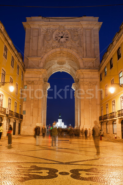 Rua Augusta Arch at Night in Lisbon Stock photo © rognar