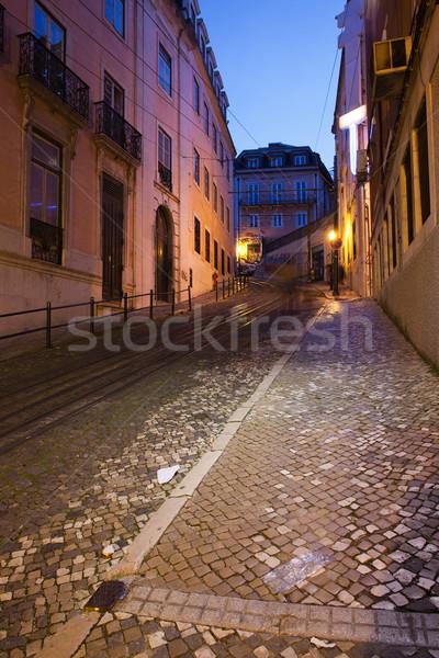 Calcada da Gloria Street at Night in Lisbon Stock photo © rognar