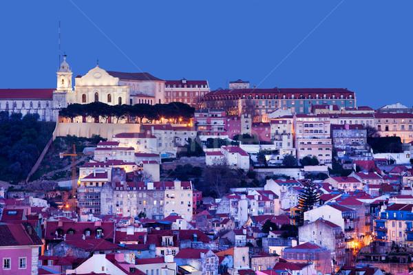 Stad Lissabon schemering Portugal gebouw Stockfoto © rognar
