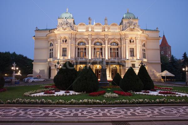 Teatro noite cracóvia Polônia eclético estilo Foto stock © rognar