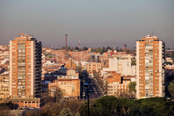 Miasta Madryt Cityscape apartamentu budynków Hiszpania Zdjęcia stock © rognar