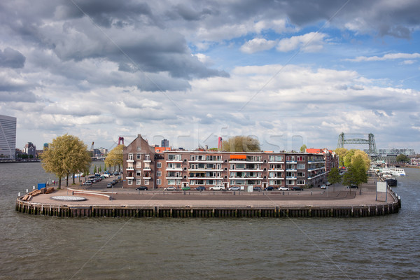 River Island with Houses in Rotterdam Stock photo © rognar