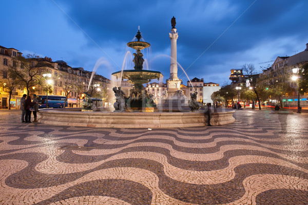 Vierkante nacht Lissabon fontein kolom Portugal Stockfoto © rognar