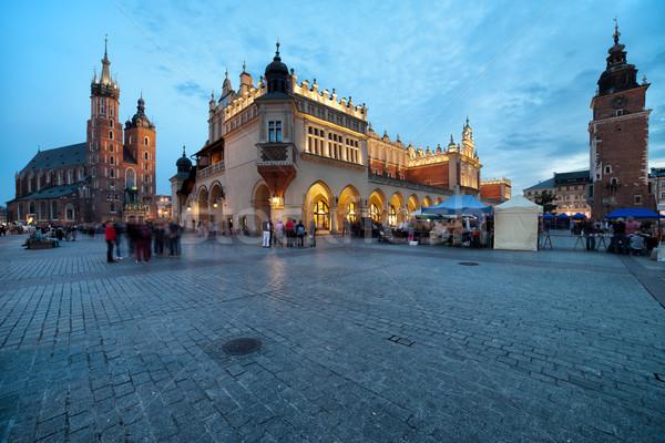 Principale carré vieille ville cracovie Pologne crépuscule Photo stock © rognar