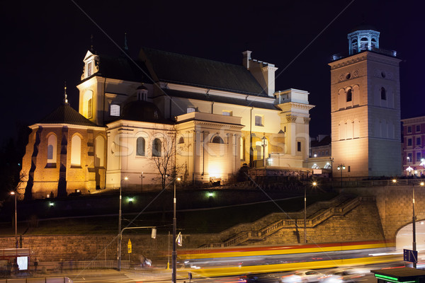 St Anne Church at Night in Warsaw Stock photo © rognar