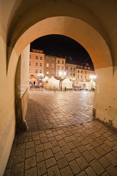 Stock fotó: Kicsi · piac · tér · éjszaka · Krakkó · város