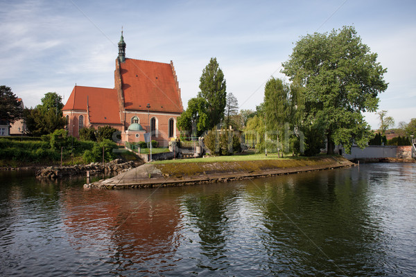 Bydgoszcz Cathedral and Brda River Stock photo © rognar