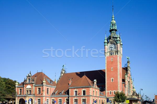 Fő- vasútállomás Gdansk újjászületés építészeti stílus Stock fotó © rognar