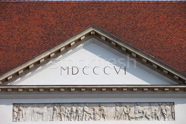 Sandor Palace Pediment in Budapest Stock photo © rognar