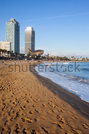 Sandy Beach in Cascais in Portugal Stock photo © rognar