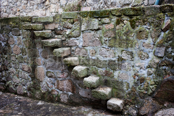 Medieval Stone Steps and Wall Stock photo © rognar