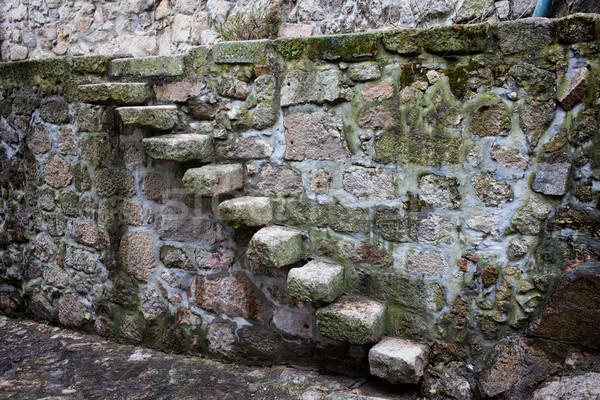 Középkori kő lépcső fal öreg keskeny Stock fotó © rognar