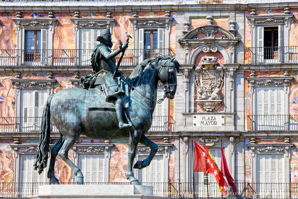 Statue of King Philip III at Plaza Mayor Stock photo © rognar