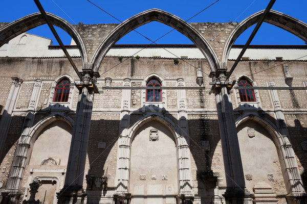 Ruins of Carmo Convent in Lisbon Stock photo © rognar