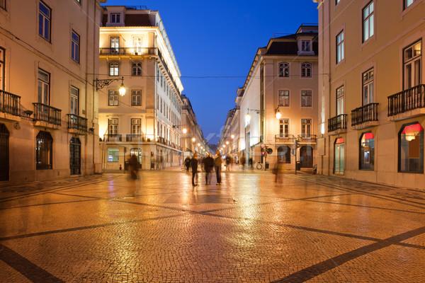улице ночь Лиссабон пешеход город Португалия Сток-фото © rognar