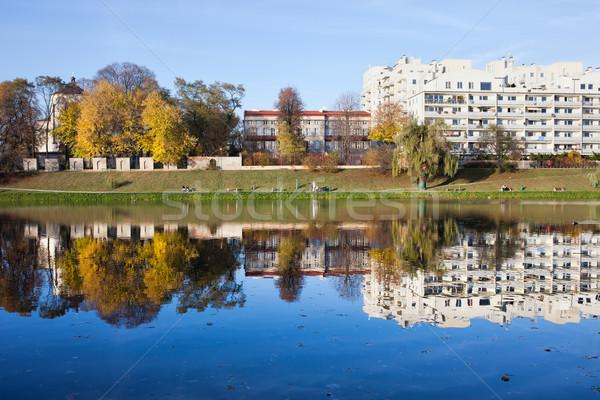 Lake of Skaryszewski Park in Warsaw Stock photo © rognar