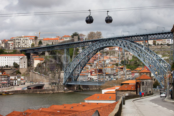 Dom Luis I Bridge in Porto and Cable Car in Gaia Stock photo © rognar