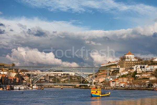Gaia and Porto Cityscape from Douro River Stock photo © rognar