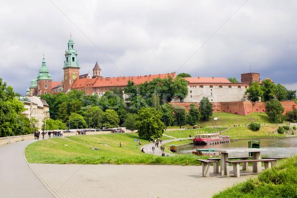 Royal château Pologne Voyage rivière brique Photo stock © rognar