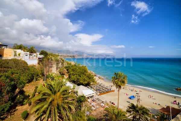 ビーチ リゾート 町 アンダルシア スペイン ツリー ストックフォト © rognar