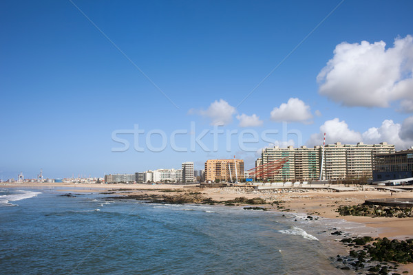 Város sziluett Portugália városkép tengerpart ház Stock fotó © rognar