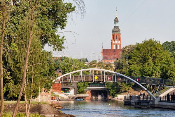 Cityscape Pologne ville passerelle eau bâtiment Photo stock © rognar