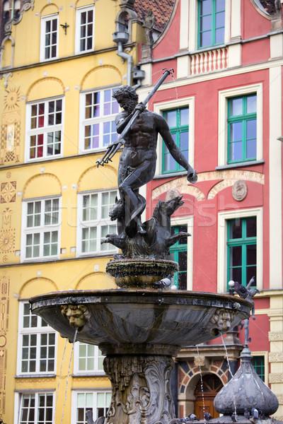 Szökőkút Gdansk görög mitológia bronz szobor Stock fotó © rognar