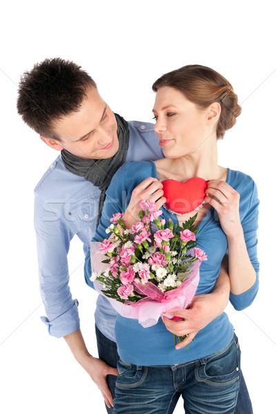 Hartelijk liefde jonge paar vrouw Stockfoto © rognar