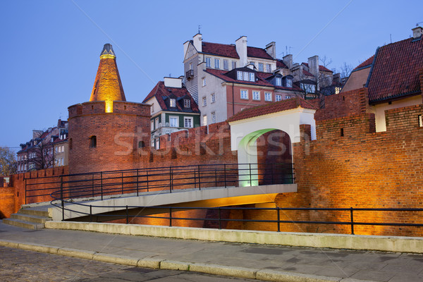 Old Town of Warsaw Fortification in the Evening Stock photo © rognar