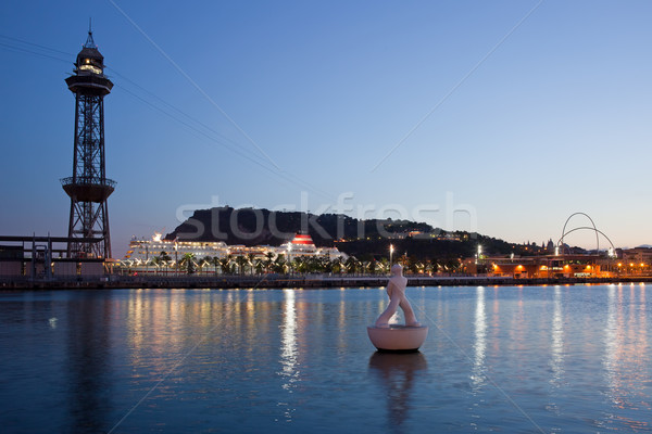 Montjuic and Torre Jaume I at Dusk in Barcelona Stock photo © rognar