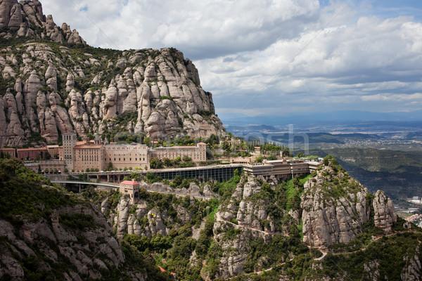 Mosteiro montanha edifício edifícios montanhas rochas Foto stock © rognar