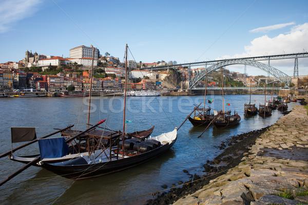 Boats on Douro River and Porto Skyline in Portugal Stock photo © rognar
