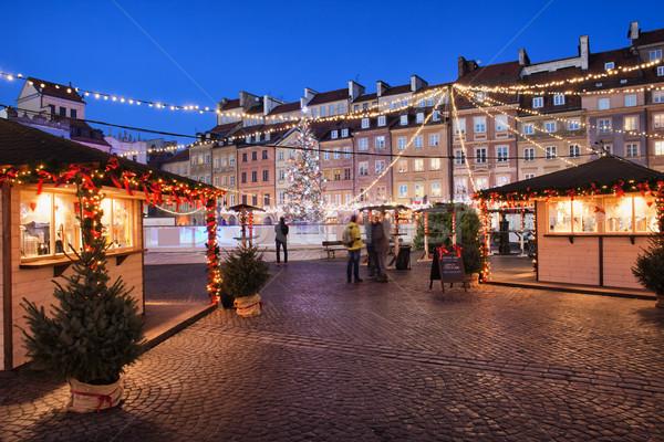 Oude binnenstad vierkante nacht Warschau Polen christmas Stockfoto © rognar
