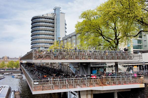 Fietsen parkeren Amsterdam groot fiets holland Stockfoto © rognar